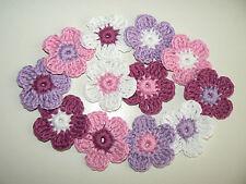 12 Häkelblumen 4cm gehäkelt Blüten Applikationen rosa-weiß-flieder-veilchen