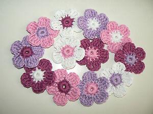 30 Häkelblumen 4cm gehäkelt Blüten Applikationen rosa-weiß-flieder-veilchen