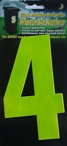 "WHEELIE BIN NUMBERS - ""4"" - STICKER - REFLECTIVE - FREE UK POSTAGE"