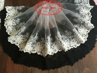 25cm,1yard Delicate white embroidered flower tulle lace trim Sewing DIY FL123