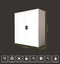 1020H 2 Door White Grey Lockable Metal Cabinet Cupboard Files Storage Assembled