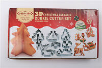 8pcs 3D Christmas Scenario Biscuit Cookie Cutter Set Stainless Steel Xmas Gift