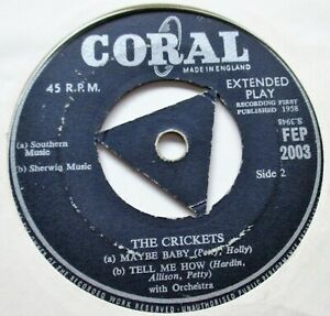 BUDDY HOLLY & THE CRICKETS  4 TRACK CORAL EP + DOESNT MATTER 1958 CORAL RECORDS