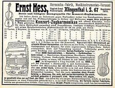 Ernst Hess Klingenthal i. S. Konzert- Zugharmonikas Historische Annonce von 1909