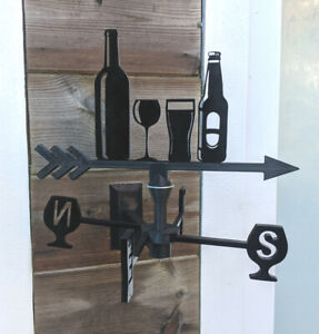 Wine & Beer Bottles Acrylic Garden Weather Vane Wall or Pole Mounted