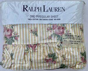 NIP Ralph Lauren SOPHIE BROOKE Stripe Floral  Irregular Queen Ruffled Flat Sheet