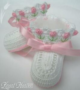 Crochet Pink/White Tulip Baby/Reborn Doll Booties