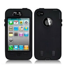Black Shock Proof Armoured Hard Case Rubber Gel Skin Cover For Apple iPhone 4 4S