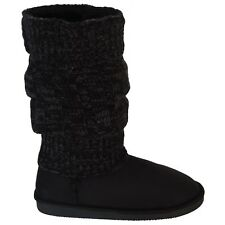 New Womens winter Boots Warm Fur Suede Flat Calf Fashion Shoe Sheepskin Black sz