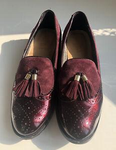 Ladies Van Dal Loafer Shoes Size EU 40 UK 6.5 Maroon Comfortable Slip On Shoes