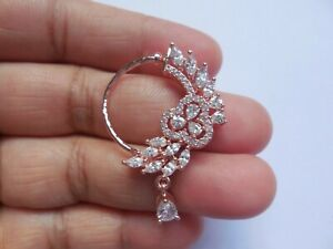 Rose Gold Plated Nose Ring Indian Nath Crystal Marathi Decorated Wedding Jewelry