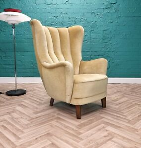 Mid Century Art Deco Vintage Danish Yellow Velour Club Lounge Arm Chair 1930s