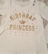Nwt Children's Place Toddler Girl Long Sleeve Glitter Birthday Princess Shirt 3T