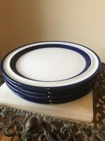 """Set of 4 Noritake Fjord Stoneware Salad Plate Diameter 6.5"""" Blue & White"""