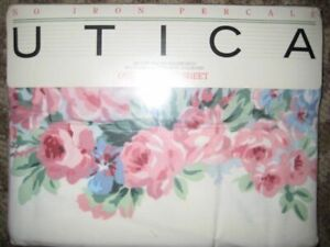 VINTAGE UTICA NO IRON PERCALE TWIN F/SHEET BRIDESHEAD11 ROSES/STRIPE NIP