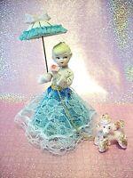 *RARE VTG Japan Blue Lace Girl Angel Hold Parasol & Flower Walks Pink Poodle Dog