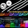 4x RGB LED Strip Under Car Tube Underglow Underbody System Neon Light Kit App
