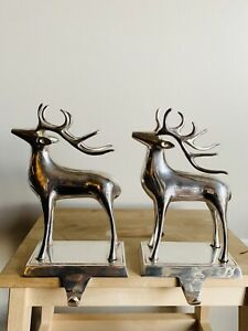 Pottery Barn Reindeer Christmas Stocking Holder Holiday Hanger Set Of 2