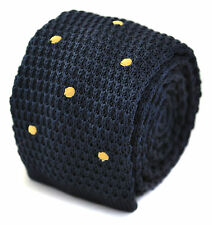 Frederick Thomas Knitted Navy and Gold Spotted Tie