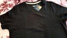 BASIC EDITIONS Girls Women Casual Loose Black Plain T-Shirt Sz S