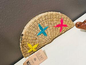 Womens Straw Clutch Bag Boho Summer Beach Straw Purse Zipper Wallet Half Circle