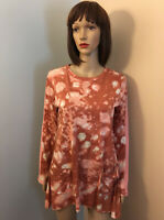 LOGO LORI GOLDSTEIN Sz S Rust Coral TIE DYE Fit & Flare TUNIC TOP Pockets Insets