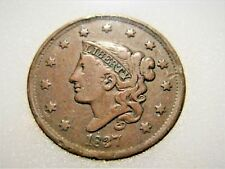 1837 LARGE CORONET Cent in nice FINE with good color! Beautiful Coin Tough date!
