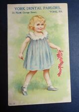graphic Victorian trade card York PA dental parlor laughing gas tooth extraction