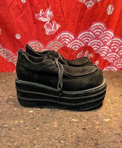 Demonia Bulb Toe Platform Shoes in Black, Sz 10