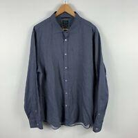 Industrie Mens Button Up Shirt 2XL Blue Long Sleeve Collared