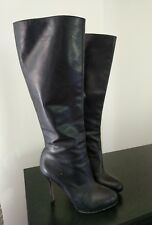 Sam Edelman  Empire Knee-High Boots- Black Leather stiletto heels Size 7.5 M