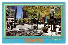 Denver Colorado Postcard 16th Street Mall People Walking Trees Flower Pots
