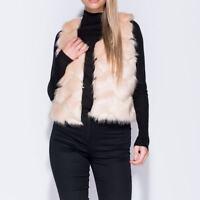 ~ABBIE~ Nude Faux Fur Trim Cropped Sleeveless Womens Gilet Jacket Size 8 10 12