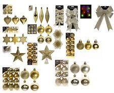 Gold Christmas Tree Ornaments Hanging Baubles Star,Heart,Drops,Bows Xmas Decor