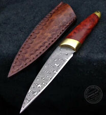 HANDMADE DAMASCUS SURVIVAL OUTDOOR CAMPING KNIFE FIXED BLADE W/ SHEATH BURL WOOD