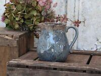Chic Antique Krug Kanne Karaffe Keramik Rose opal blau