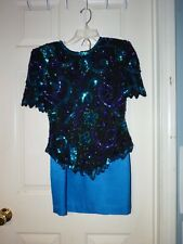 Women SIZE 6 vintage Laurence Kazar N.Y. SILK 2PC SEQUINNED Formal DRESS PARTY