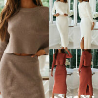 Women Knitted Suit Solid Long Sleeve Sweater and Skirt Elegant Casual Outfits