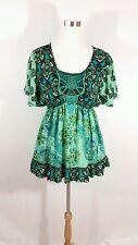 Style & Co. Floral Loose Flowy Top Blue Green Sz M Medium Short Sleeve Shirt