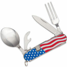 American Flag Camp Dining Tool Hobo Pocket Knife Spoon Fork - FAST SHIPPING!
