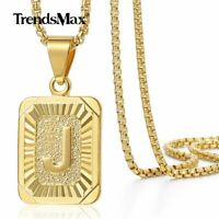 "18""-30"" Womens Mens Gold Filled A-Z Initial Necklace Letter Pendant Steel Chain"