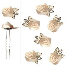 6 épingles pics cheveux chignon mariage mariée danse fleur satin beige crème