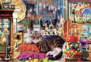 Buffalo Games Curiosity Shop Sleepy Cat 2000 Piece Jigsaw Puzzle Vintage Shop