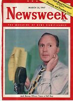 1947 Newsweek March 31 - Yenan falls in China Civil War; Peshawar; Jack Benny