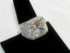 Huge Sparkling 10 Carat CZ Cubic Zirconia Silver Plated Cocktail Ring Size 9.5