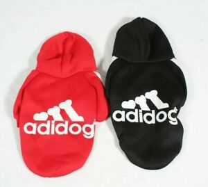 2pk Adidog Dog Hoodie 2 Legs Jumpsuit Puppy Hoodies Sports Outfits Red And Black