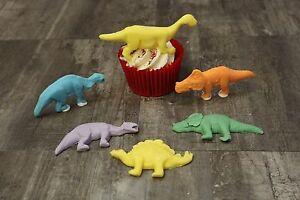 Dinosaur Edible Cake Topper Cupcake Topper Set of  6  Fondant Handmade