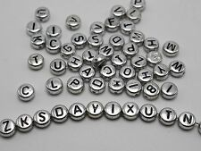 250 Assorted Silver Metallic Acrylic Alphabet Letter Coin Beads 4X7mm