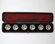 More details for antique sterling silver art nouveau dragon buttons, set of six in original box