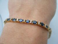 Gorgeous 14k Yellow Gold Natural Diamond & Blue Sapphire Tennis Bracelet Heavy